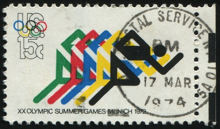 olympic rings: UNITED STATES - CIRCA 1972: stamp printed by United states, shows Running and Olympic Rings, circa 1972. Editorial