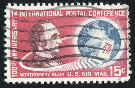 montgomery: UNITED STATES - CIRCA 1963: stamp printed by United states, shows Montgomery Blair, circa 1963