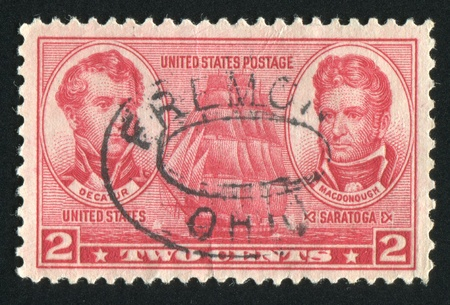 UNITED STATES - CIRCA 1937: stamp printed by United states, shows Stephen Decatur and Thomas MacDonough, circa 1937