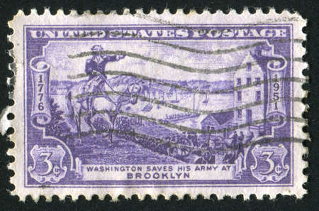 evacuating: UNITED STATES - CIRCA 1951: stamp printed by United states, shows Gen. George Washington Evacuating Army, circa 1951 Stock Photo