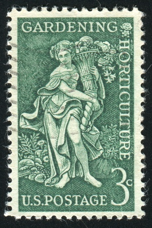 "bountiful: UNITED STATES - CIRCA 1956: stamp printed by United states, shows ""Bountiful Earth"" Garden clubs of America, circa 1956"
