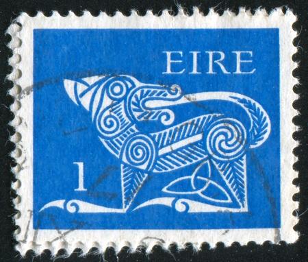 IRELAND - CIRCA 1968: stamp printed by Ireland, shows Dog from Ancient, circa 1968 photo