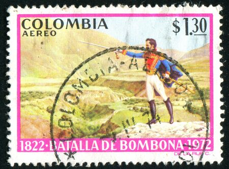 COLOMBIA - CIRCA 1973: stamp printed by Colombia, shows Bolivar, Battle of Bombona, circa 1973