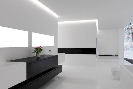 High resolution image. 3d rendered illustration. Inter of the modern room. Stock Illustration - 9257708