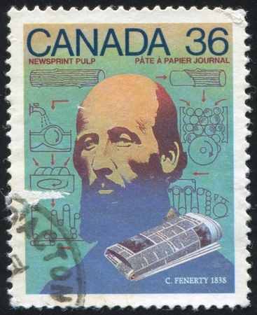 CANADA - CIRCA 1987: stamp printed by Canada, shows Charles Fenerty, newsprint, circa 1987 Stock Photo - 9385304