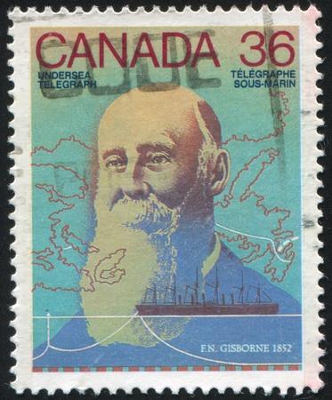 CANADA - CIRCA 1987: stamp printed by Canada, shows Frederick Newton Gisborne, circa 1987 Stock Photo - 9385325