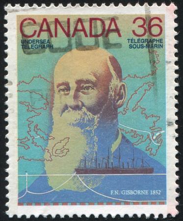 CANADA - CIRCA 1987: stamp printed by Canada, shows Frederick Newton Gisborne, circa 1987 Stock Photo - 9385325