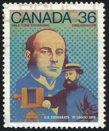 CANADA - CIRCA 1987: stamp printed by Canada, shows Georges Edouard Desbarats and William Leggo half-tone engraving, circa 1987 Stock Photo - 9385332