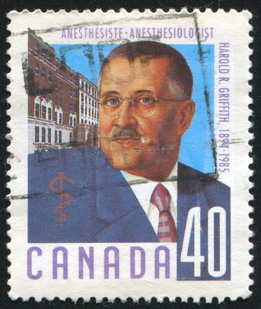 griffith: CANADA - CIRCA 1991: stamp printed by Canada, shows Harold Griffith (1894-1985), anesthesiologist, circa 1991