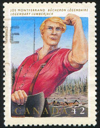 CANADA - CIRCA 1992: stamp printed by Canada, shows Jos Monferrand, lumberjack, circa 1992 Stock Photo - 9384731