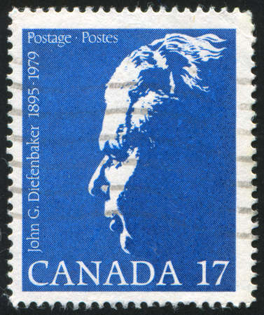 CANADA - CIRCA 1946: stamp printed by Canada, shows John George Diefenbaker, Prime Minister, circa 1946 Stock Photo - 9381246
