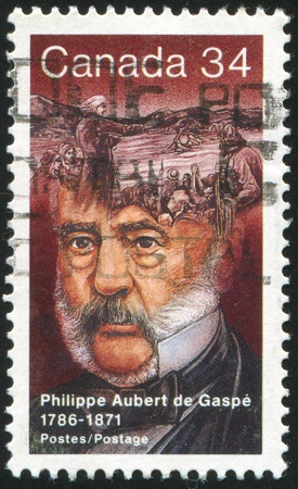 CANADA - CIRCA 1986: stamp printed by Canada, shows Philippe Aubert de Gaspe, Novelist, circa 1986 Stock Photo - 9381275