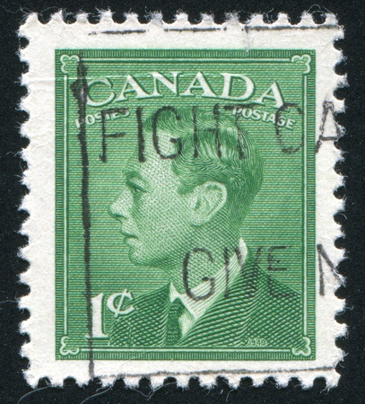 CANADA - CIRCA 1949: stamp printed by Canada, shows King George VI, circa 1949 Stock Photo - 9384714
