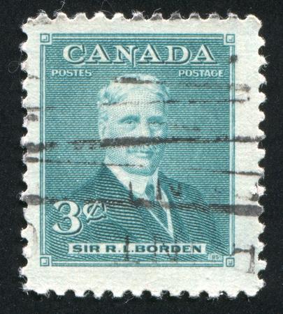 CANADA - CIRCA 1951: stamp printed by Canada, shows Sir Robert Laird Borden, circa 1951 Stock Photo - 9381238