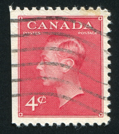 CANADA - CIRCA 1949: stamp printed by Canada, shows King George VI, circa 1949 Stock Photo - 9381247