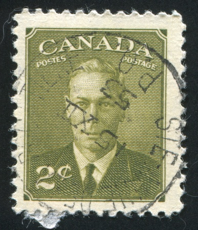 CANADA - CIRCA 1949: stamp printed by Canada, shows King George VI, circa 1949 Stock Photo - 9381229