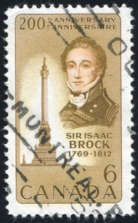 CANADA - CIRCA 1969: stamp printed by Canada, shows Sir Isaac Brock and Memorial Queenston Heights, circa 1969 Stock Photo - 9384734