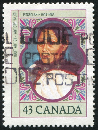 inuit: CANADA - CIRCA 1993: stamp printed by Canada, shows inuit graphic artist, circa 1993
