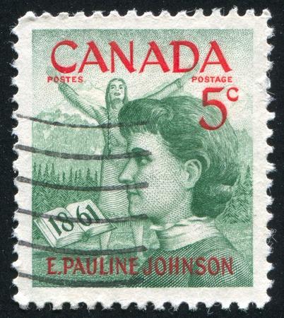 CANADA - CIRCA 1960: stamp printed by Canada, shows Emily Pauline Johnson, circa 1960
