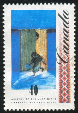 homeland: CANADA - CIRCA 1991: stamp printed by Canada, shows Paintings by William Kurelek, Leaving homeland, circa 1991