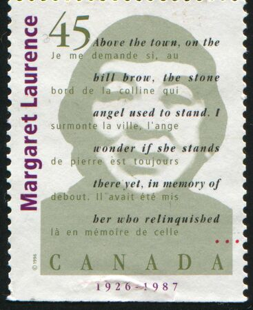 laurence: CANADA - CIRCA 1996: stamp printed by Canada, shows Margaret Laurence, circa 1996