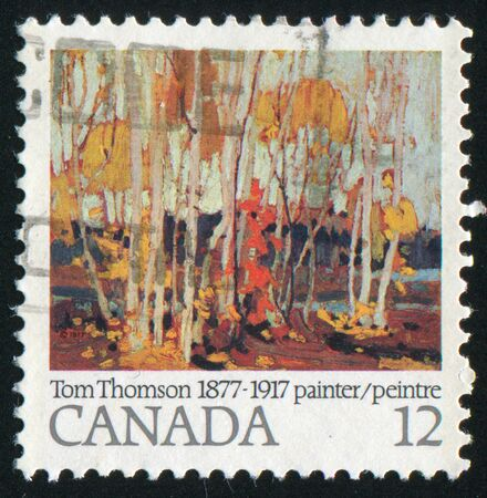 canada stamp: CANADA - CIRCA 1977: stamp printed by Canada, shows Autumn Birches, by Tom Thomson, circa 1977