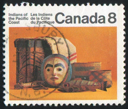 indian artifacts: CANADA - CIRCA 1975: stamp printed by Canada, shows Indian artifacts, circa 1975