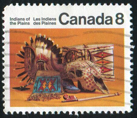 artifacts: CANADA - CIRCA 1975: stamp printed by Canada, shows Indian artifacts, circa 1975