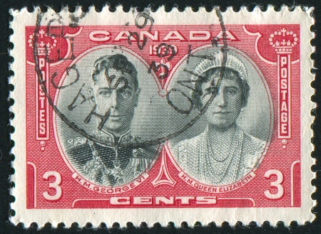 CANADA - CIRCA 1939: stamp printed by Canada, shows King George VI and Queen Elizabeth, circa 1939 Stock Photo - 9463829