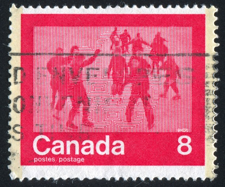 CANADA - CIRCA 1974: stamp printed by Canada, shows skating, circa 1974 Stock Photo - 9585111