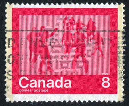 CANADA - CIRCA 1974: stamp printed by Canada, shows skating, circa 1974 Stock Photo - 9585111