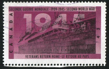 CANADA - CIRCA 1995: stamp printed by Canada, shows Veterans return home, circa 1995 Stock Photo - 9585075