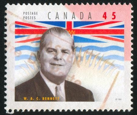 bennett: CANADA - CIRCA 1998: stamp printed by Canada, shows W.A.C. Bennett (1900-79), British Columbia, circa 1998 Editorial