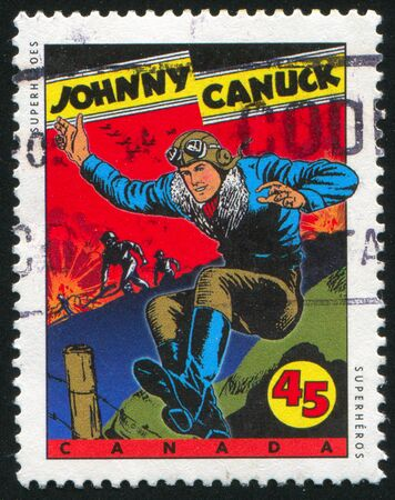 CANADA - CIRCA 1995: stamp printed by Canada, shows Comic Book Characters, Johnny Canuck, circa 1995 Stock Photo - 9585066