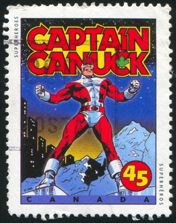 CANADA - CIRCA 1995: stamp printed by Canada, shows Comic Book Characters, Captain Canuck, circa 1995 Stock Photo - 9585169