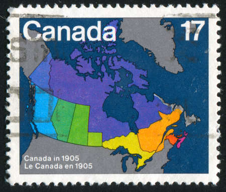 CANADA - CIRCA 1981: stamp printed by Canada, shows Map of Canada Showing Provincial, Boundaries, 1867, circa 1981 photo