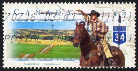 CANADA - CIRCA 1997: stamp printed by Canada, shows cowboy, circa 1997 photo