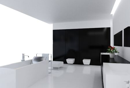 High resolution image. 3d rendered illustration. Interior of the modern bathroom.