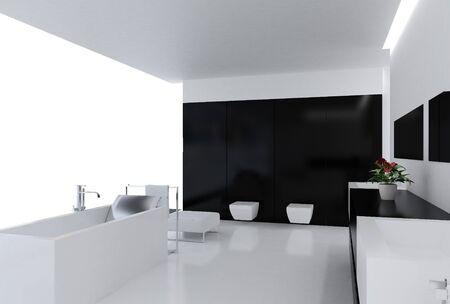 High resolution image. 3d rendered illustration. Interior of the modern bathroom.