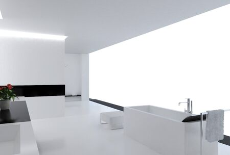 living room design: High resolution image. 3d rendered illustration. Interior of the modern bathroom.