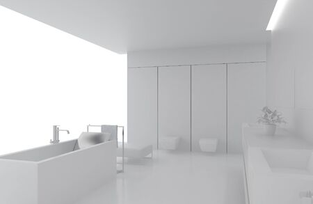 High resolution image. 3d rendered illustration. Interior of the modern bathroom. illustration