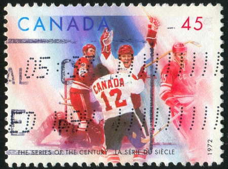 CANADA - CIRCA 1972: stamp printed by Canada, shows Hockey, circa 1972 Stock Photo - 9674926