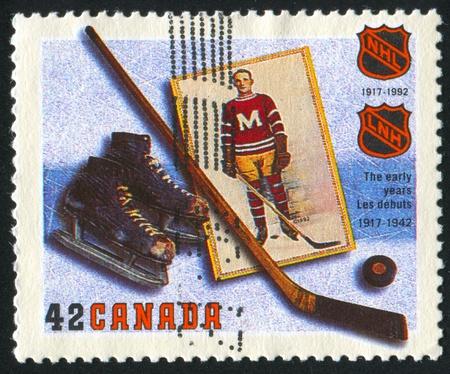 CANADA - CIRCA 1992: stamp printed by Canada, shows Hockey, circa 1992