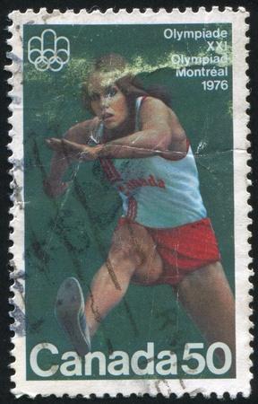 hurdling: CANADA - CIRCA 1975: stamp printed by Canada, shows Hurdling, circa 1975 Editorial