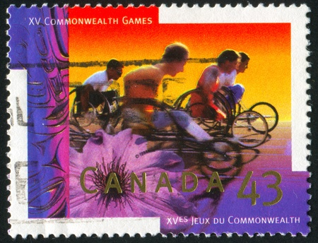 disable: CANADA - CIRCA 1994: stamp printed by Canada, shows Wheelchair marathon, circa 1994