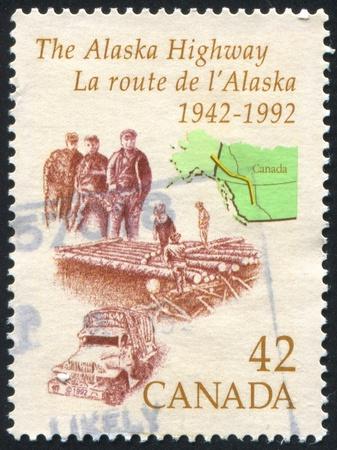 autotruck: CANADA - CIRCA 1992: stamp printed by Canada, shows Alaska Highway, circa 1992