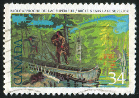 pioneers: CANADA - CIRCA 1986: stamp printed by Canada, shows Pioneers of New France: Etienne Brule (c. 1592-1633), 1st European to see the Great Lakes, circa 1986