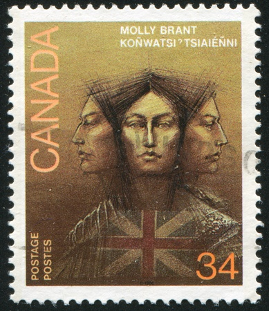CANADA - CIRCA 1986: stamp printed by Canada, shows Molly Brant (1736-1796), Iroquois Leader and Loyalist, circa 1986