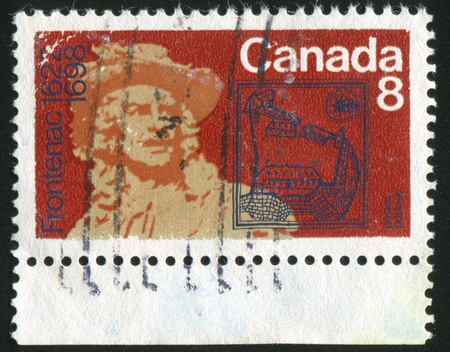 CANADA - CIRCA 1972: stamp printed by Canada, shows Frontenac by Philippe He´bert and Fort Saint Louis, Quebec, circa 1972 Stock Photo - 9742602