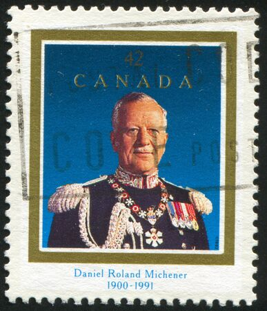 governor: CANADA - CIRCA 1992: stamp printed by Canada, shows Daniel Roland Michener (1900-1991), Governor General, circa 1992